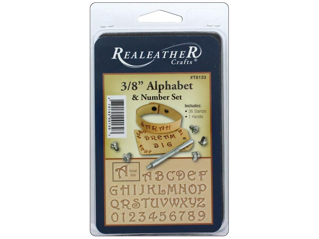 Realeather 3/8'' Alphabet and Number Stamp Tool Set, Multicolor by Realeather