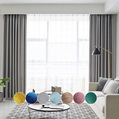 MacoHome Textured Room Darkening Curtains Linen Decorative Drapery Panels
