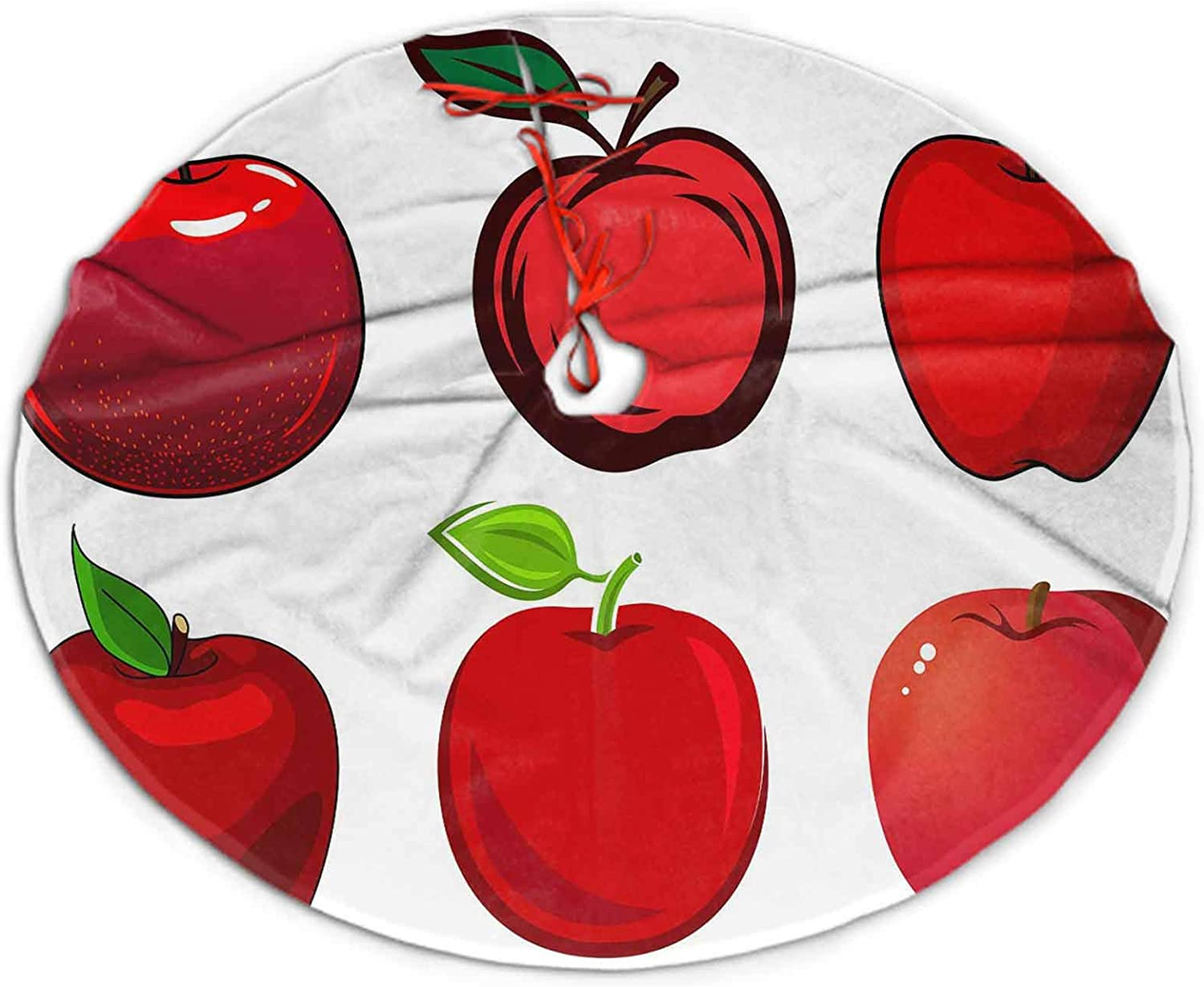 """SoSung Christmas Tree Skirt Fresh and ripe red Apple Fruits Holiday Decoration for Home and Outdoor 36"""""""