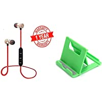Ionix Combo of Buetooth Earphone Wireless & Champion Model Plastic Foldable Mobile Stand for Table and Bed, Headphones Sports Stereo Music Jogger,Running,Bluetooth Earphones Under 500