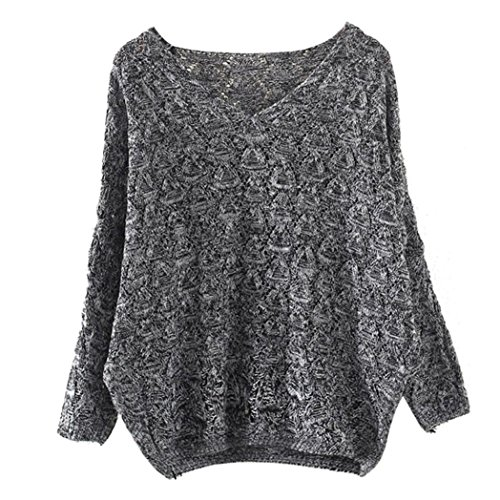 Orangeskycn Women's Sweater Hollow Out Bat Sleeve Pullover V Neck Loose Sweatershirt Blouse (Dark Grey, Free Size) (Dollar General Halloween 2017)