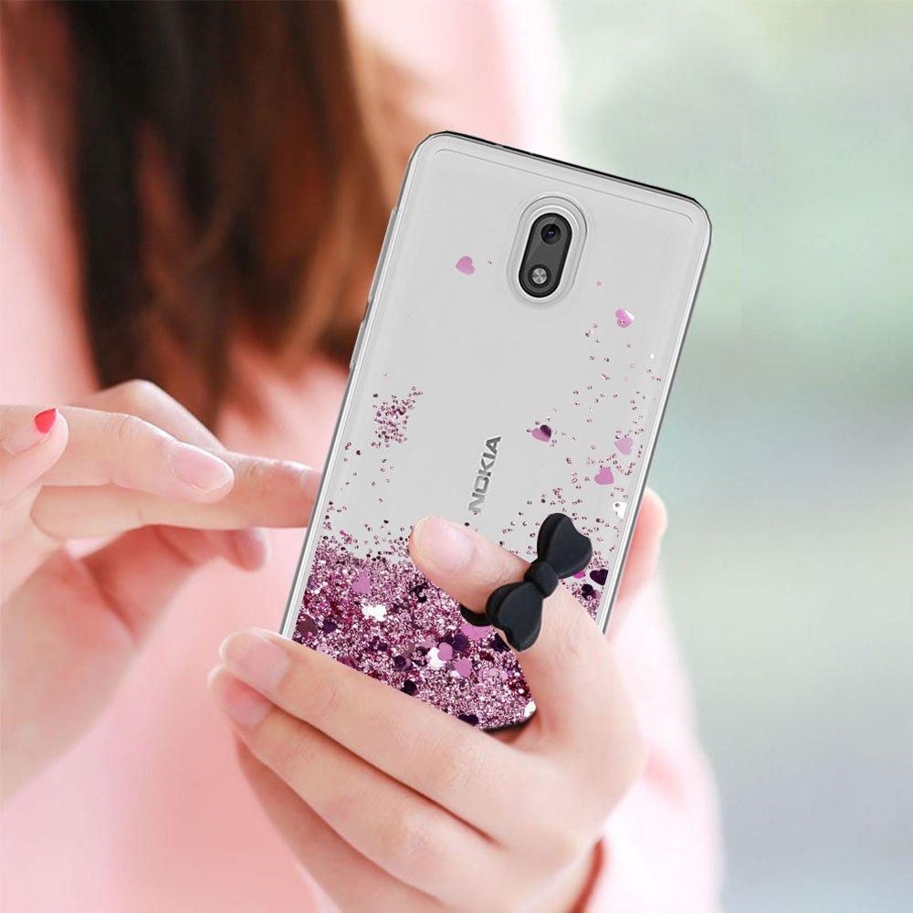LeYi Funda Nokia 2 Silicona Purpurina Carcasa con HD Protectores de Pantalla,Transparente Cristal Bumper Telefono Gel TPU Fundas Case Cover para Movil Nokia ...