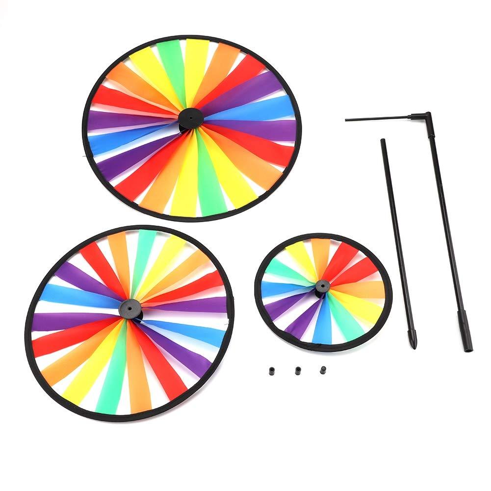 Fdit Multicolor Arcobaleno Triple Ruota Mulino a Vento girandola girotondo Bambini Giocattolo da Giardino Decorazione Esterna del Partito