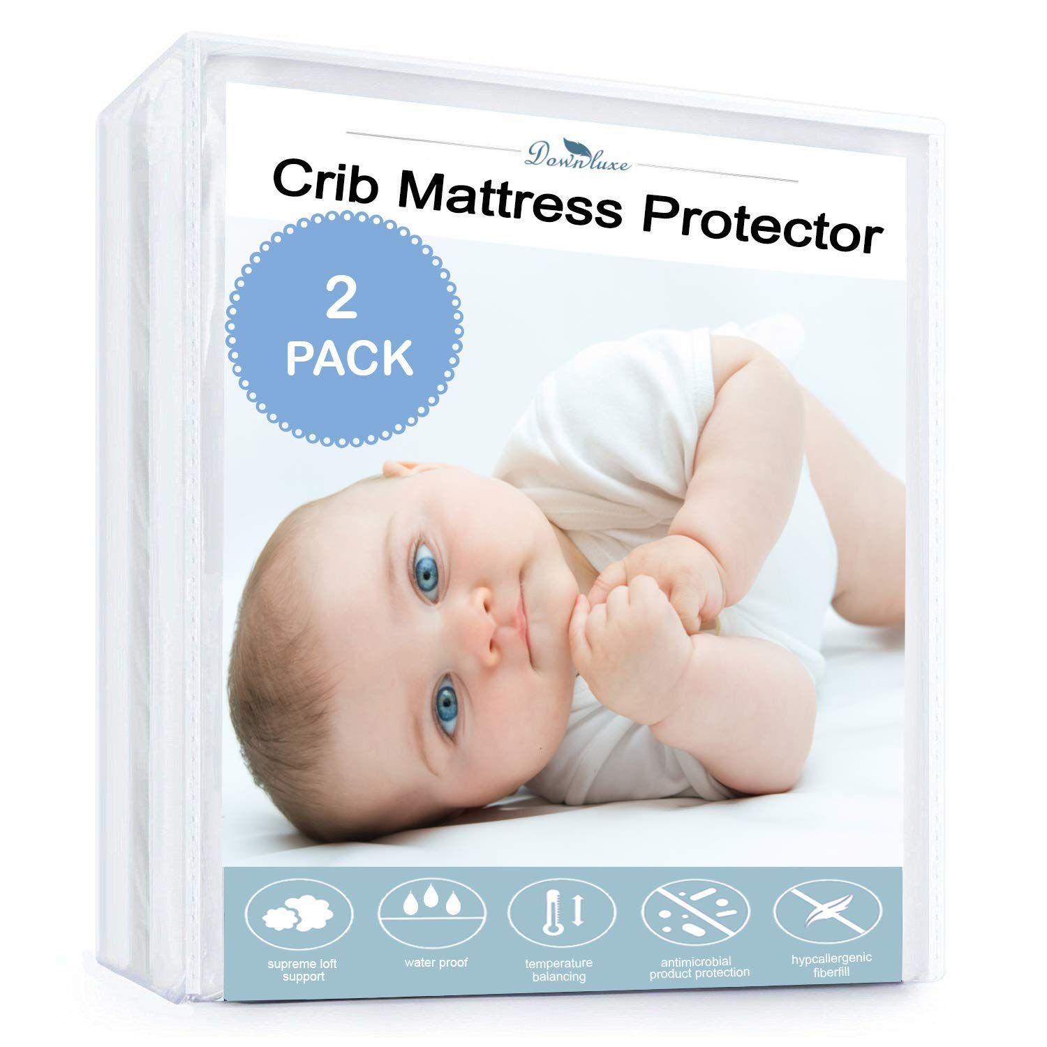 downluxe Waterproof Crib Mattress Protector - 2 Pack Breathable, Deep Fitted Stretch Skirt 52''x28'',White by downluxe