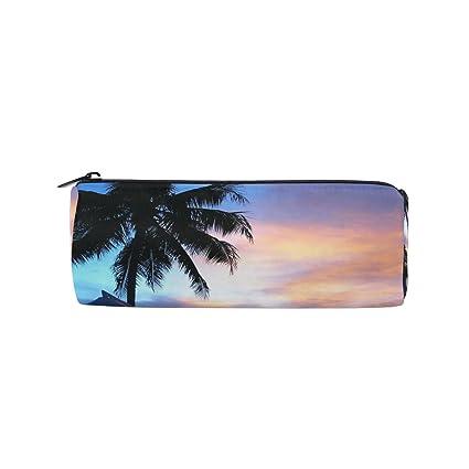 amazon com ahomy beach palm tree sunset round pencil case
