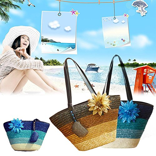 Bag Su for Knitted Single Tote Khaki Rattan Striped Beach Straw Bag Women Beach Bag Bag Bag Shoulder Shopping luoyu Woven Outdoor Bag Colorful 7rPS7f
