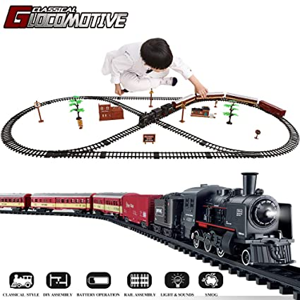 TEMI Electronic Deluxe Railway Train Sets w/ Steam Locomotive Engine, Cargo  Car and Tracks, Battery Operated Play Set Toy w/ Smoke, Light & Sounds,