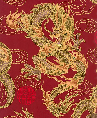 Fire Breathing Dragons: Red/Gold Metallic Asian Japanese Fabric (1 (Asian Fabric)