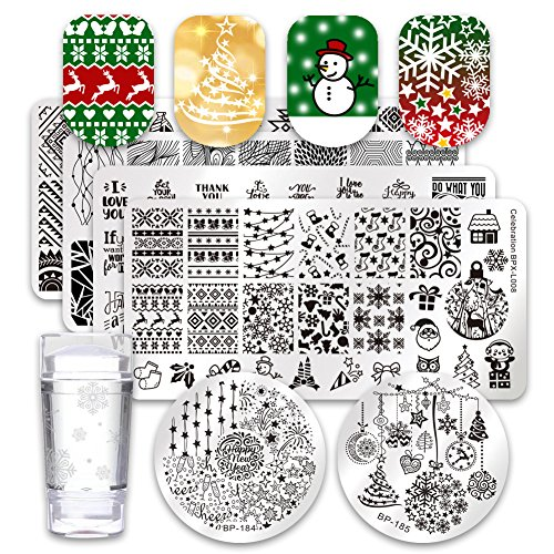 BORN PRETTY 6Pcs Nail Art Stamping Plates Set Christmas Theme Snowflakes Manicure Print Tool with 1Pc Jelly Stamper and Scraper