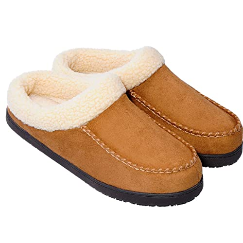 festooning Men's Warm Comfort Micro Suede Moccasin Slippers Anti Slip Rubber Sole with Memory Foam Slip on Clog House Shoes Indoor & Outdoor