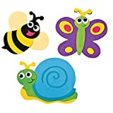 "12 ~ Bug / Insect Magnet Craft Kits ~ Self-adhesive Foam / Approx. 4 3/4"" X 3 1/2"" ~ New / Individually Packaged"