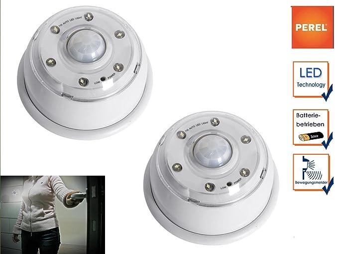 Juego de 2 batteriebetriebene LED Lámpara con sensor de movimiento, luz nocturna, poste,