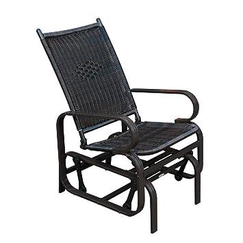 SunLife Outdoor Garden PE Wicker Rattan Rocking Chair,Steel Frame Patio Rocker  Gliders,Black