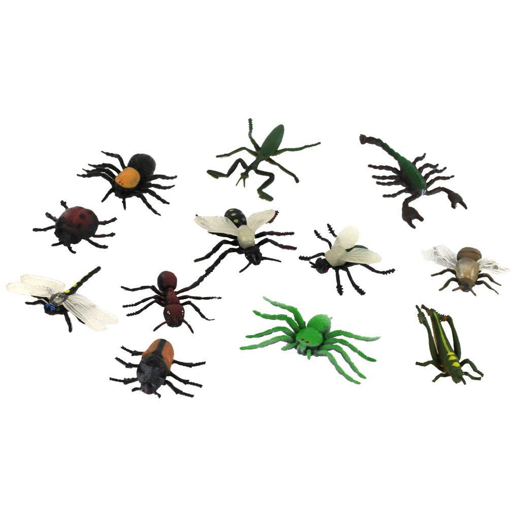 Sharplace 12pcs Mehrfarbige Kunststoff Insekten Figur Modell Satz f/ür Kinder Spielzeug Geschenk
