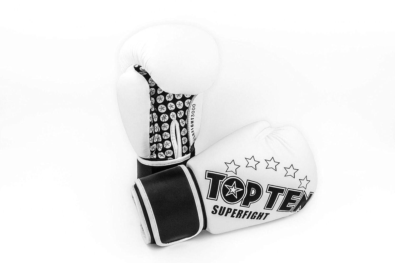 TOP Ten Boxhandschuhe SUPERFIGHT 3000 10 12 14 16 Oz Kickboxen Boxen Leder