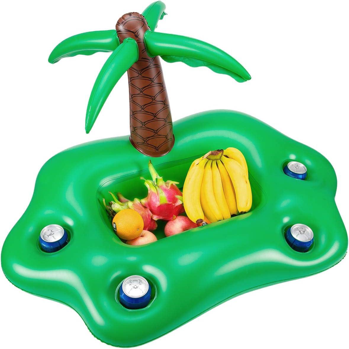 TOOGOO Summer Piscina Inflable Soporte para Vasos Fiesta Barra De Hielo Piscina Flotador Cerveza Enfriador De Bebidas PVC Bandeja Flotante Accesorios para Piscina De Playa - Verde