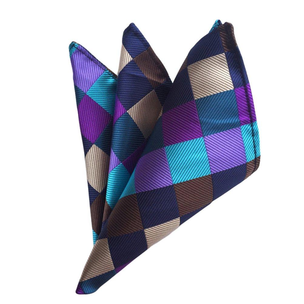 MOHSLEE Mens Multicolored Plaid Suit Tie Handky Feast Necktie Pocket Square Set