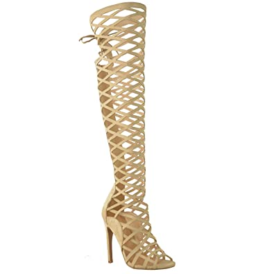 dca19ef018e Fashion Thirsty Womens Cut Out Lace Knee High Heel Boots Gladiator Sandals  Strappy Size 5