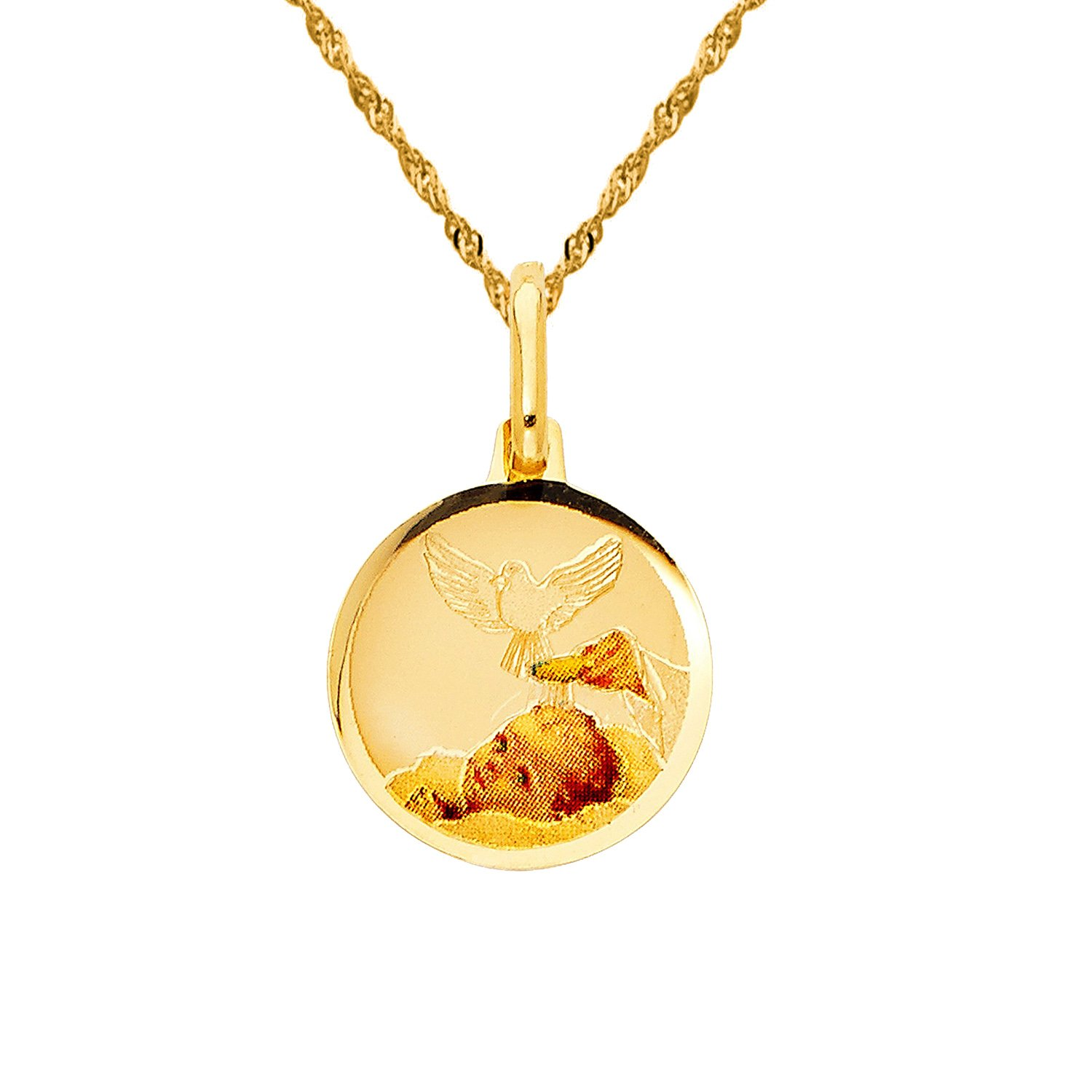 14k Yellow Gold Round Baptism Pendant with 1.2-mm Singapore Chain