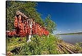 Canvas On Demand Premium Thick-Wrap Canvas Wall Art Print entitled Red Salmon hang on drying rack along Kuskokwim River shoreline