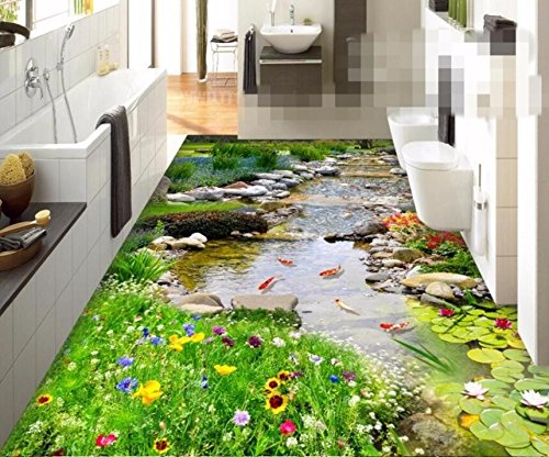 - Thickening Wearable PVC Floor Painting to Paste The Park Small River Water 3D Floor Three-Dimensional Painting-140X70Cm Sykdybz