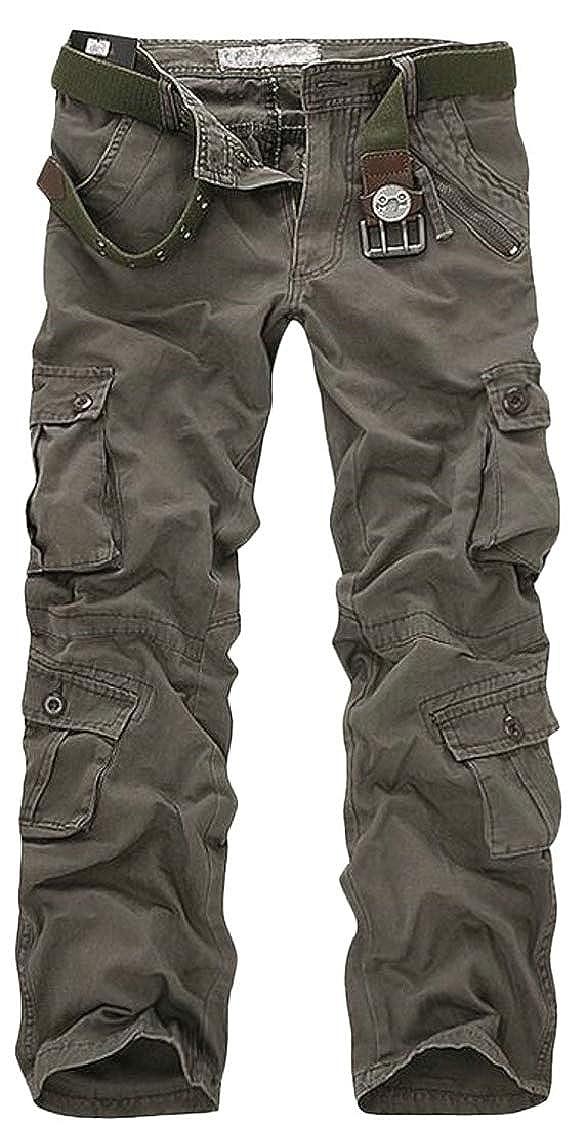 pipigo Mems Multi Pocket Washed Running Zip Pleated Straight Cargo Pants