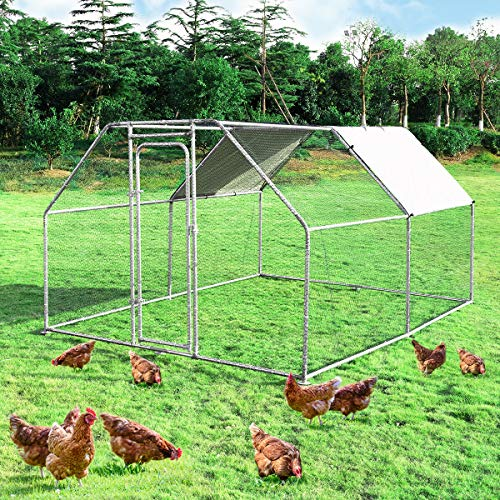 Giantex Large Metal Chicken Coop Walkin Chicken Coops Hen Run House Shade Cage with Waterproof and AntiUltraviolet Cover for Outdoor Backyard Farm Use Poultry Cage 95#039 Lx125#039 Wx6 H#039