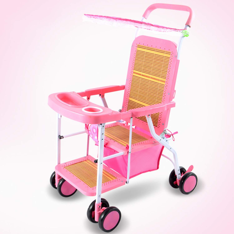 6-36ヶ月サマーラタン竹編みのベビーカー軽量ベビーカーは、折りたたみ、通気性、快適、環境にやさしいことができます  Pink B07GXGLP82
