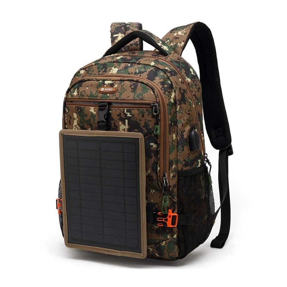 Camouflage  Jsac-one Sac à Dos pour Ordinateur portable pour Hommes avec Panneau Solaire détachable, Sac à Dos extérieur imperméable, Sac à Dos de randonnée, Sac à Dos Scolaire Grande capacité
