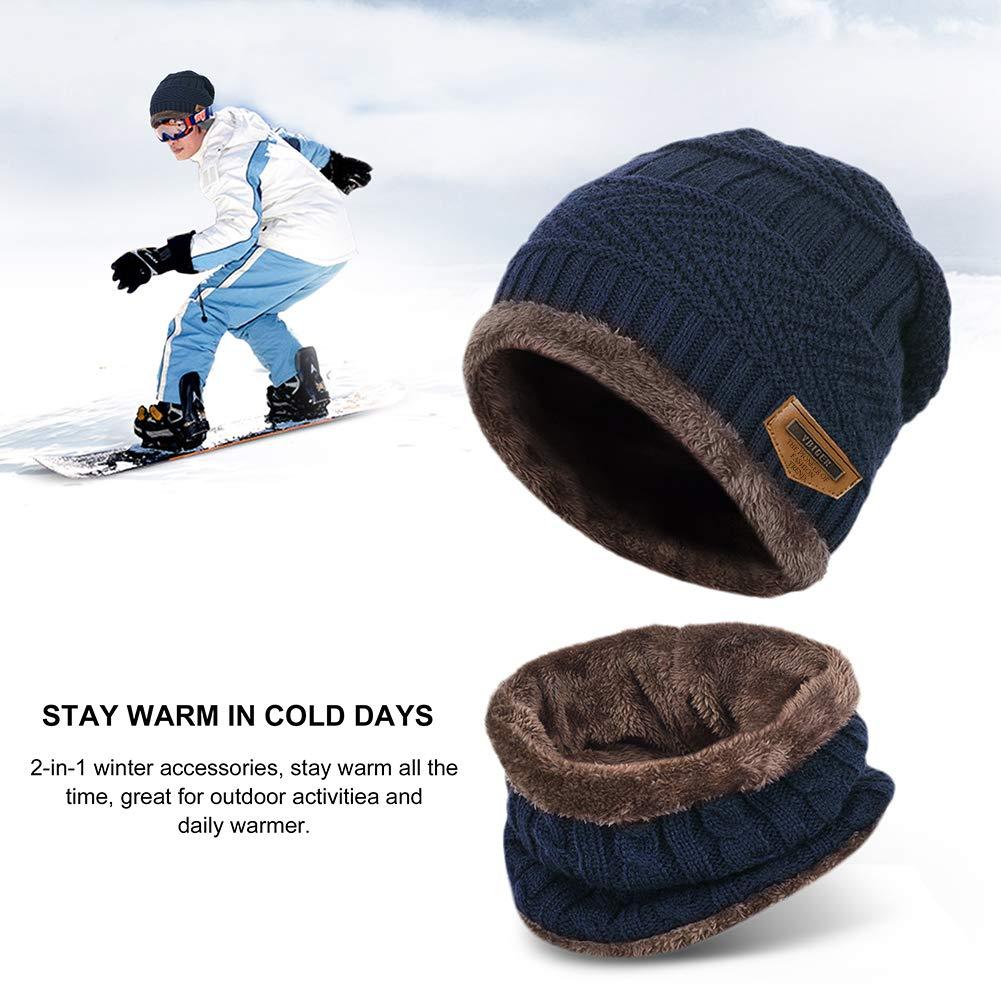 Vbiger Wintermütze Warm Beanie Strickmütze und Schal mit Fleecefutter (Blau-Neu)