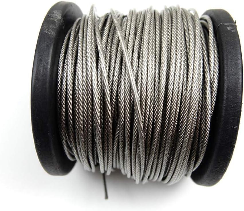 Fayella 100 metros de acero inoxidable 304 0.6//0.8//1 1.2//1.5//2 mm Acero recubierto de PVC Cable flexible Cuerda suave Cable transparente Tendedero 0.6 mm 1x7