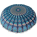 Indexp Large Round Floor Cushion Cover, Pompom Tassel Around Indian Bohemian Mandala Pillows Cover (Blue, 80x80cm)