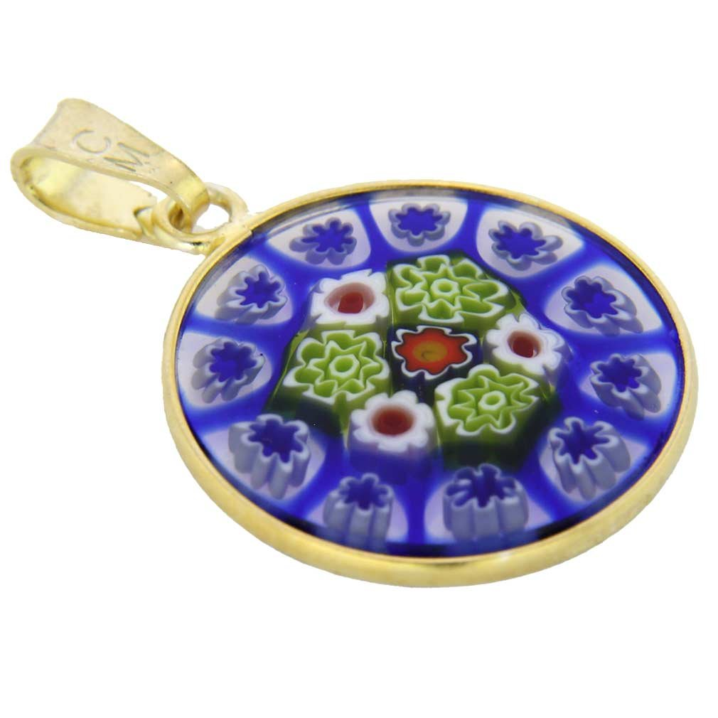 GlassOfVenice Murano Glass Millefiori Pendant in Gold-Plated Frame 3//4