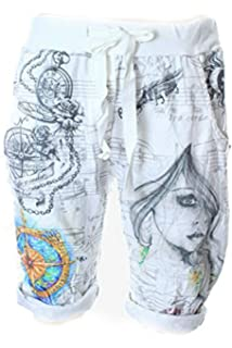e4e3f756361b Designer Damen Hose Jogging Style Sun Flower Girl Love Boyfriend Style Short