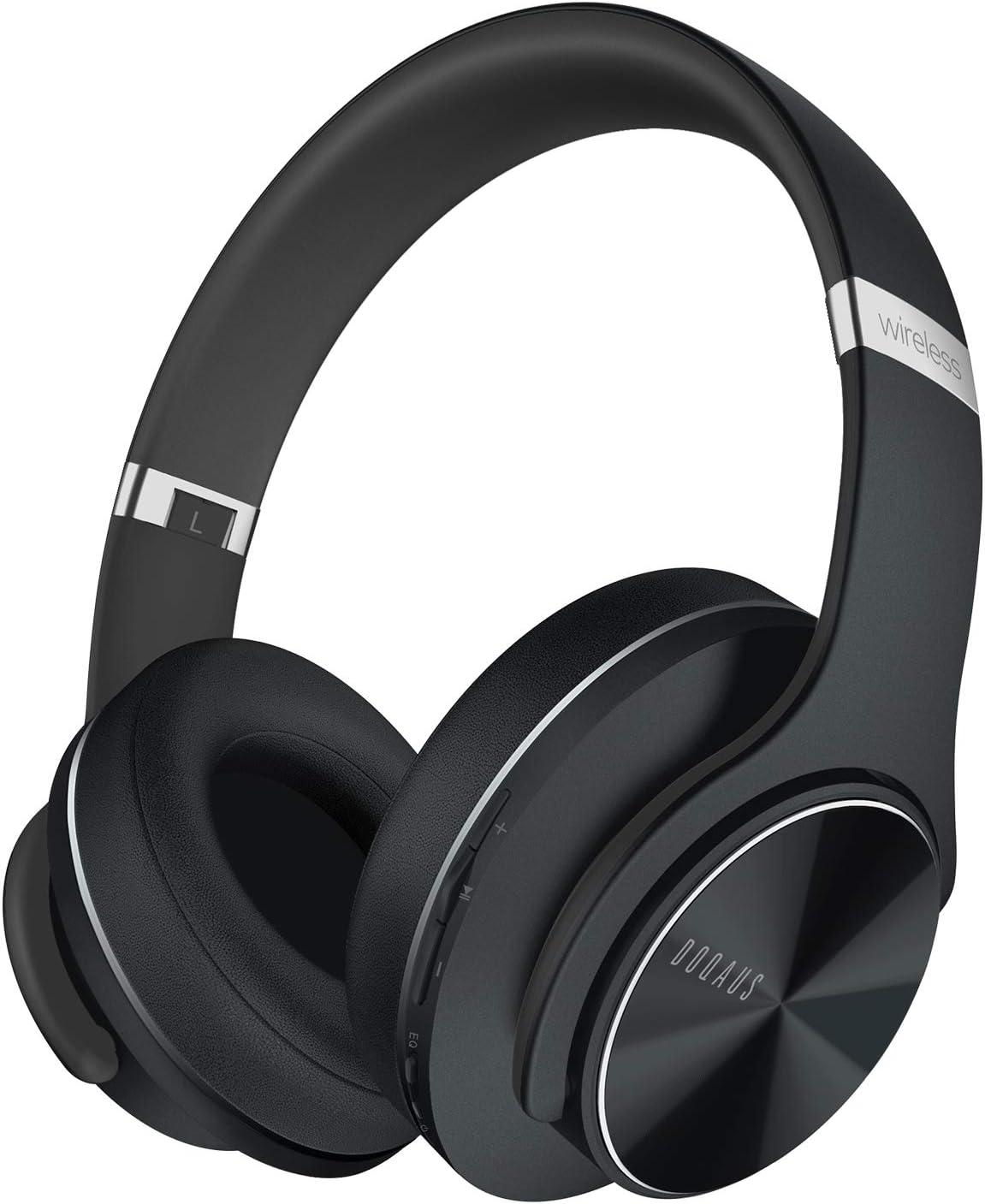 DOQAUS Auriculares Inalámbrico Diadema, [52 Hrs de Reproducir] Hi-Fi Sonido, Cascos Bluetooth con 3 Modo EQ, Micrófono Incorporado y Doble Controlador de 40 mm, para Móviles/Xiaomi/TV (Negro)