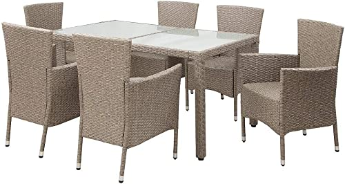 Danxee 7 Piece Outdoor Patio Dining Set Wicker Glassed Table and Cushioned Chair Beige-Brown Wicker Furniture Seating