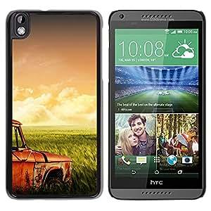 Hierba campos Retro - Metal de aluminio y de plástico duro Caja del teléfono - Negro - HTC DESIRE 816