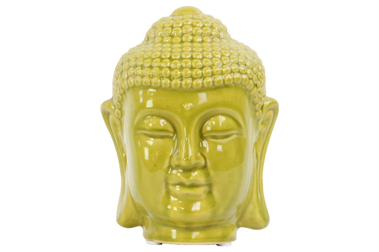 Urban Trends 50544 Ceramic Buddha Head with Rounded Ushnisha, Gloss Mustard Yellow