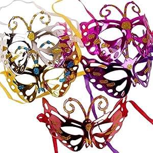 Metálico mariposas mascarada máscaras con purpurina. Bola Partido Prom máscara,, morado