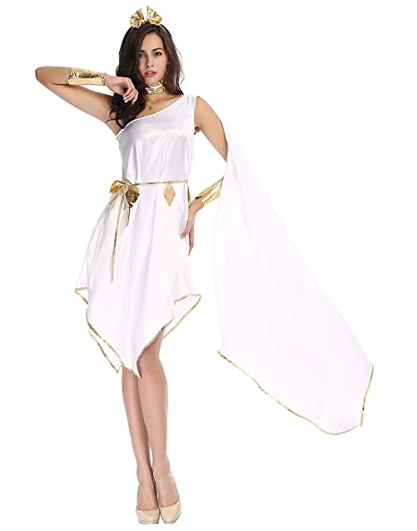 hde womens goddess halloween costume greek roman styled flowing white gown with gold embellishments