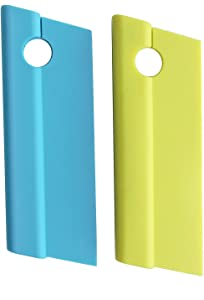 Honla 2 Pack Silicone Blade Squeegees with Hanging Hole,Compact Cleaner for Kitchen Countertops,Bathroom Shower Mirrors and Car Windows,Blue,Green