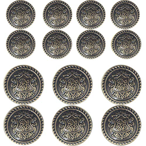 14 Piece Vintage Antique Brass (Bronze) Metal Blazer Button Set - Vine Crest - for Blazer, Suits, Sport Coat, Uniform, Jacket (Antique Bronze) 15mm 20mm