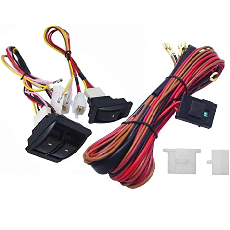 amazon com: kingfurt 6pcs 12v universal car power window switch regulator  kits with wiring harness for 2 doors: automotive