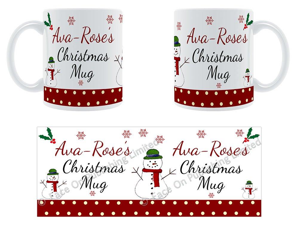 AVA-rosa de Navidad taza - nombre de cerámica taza ...