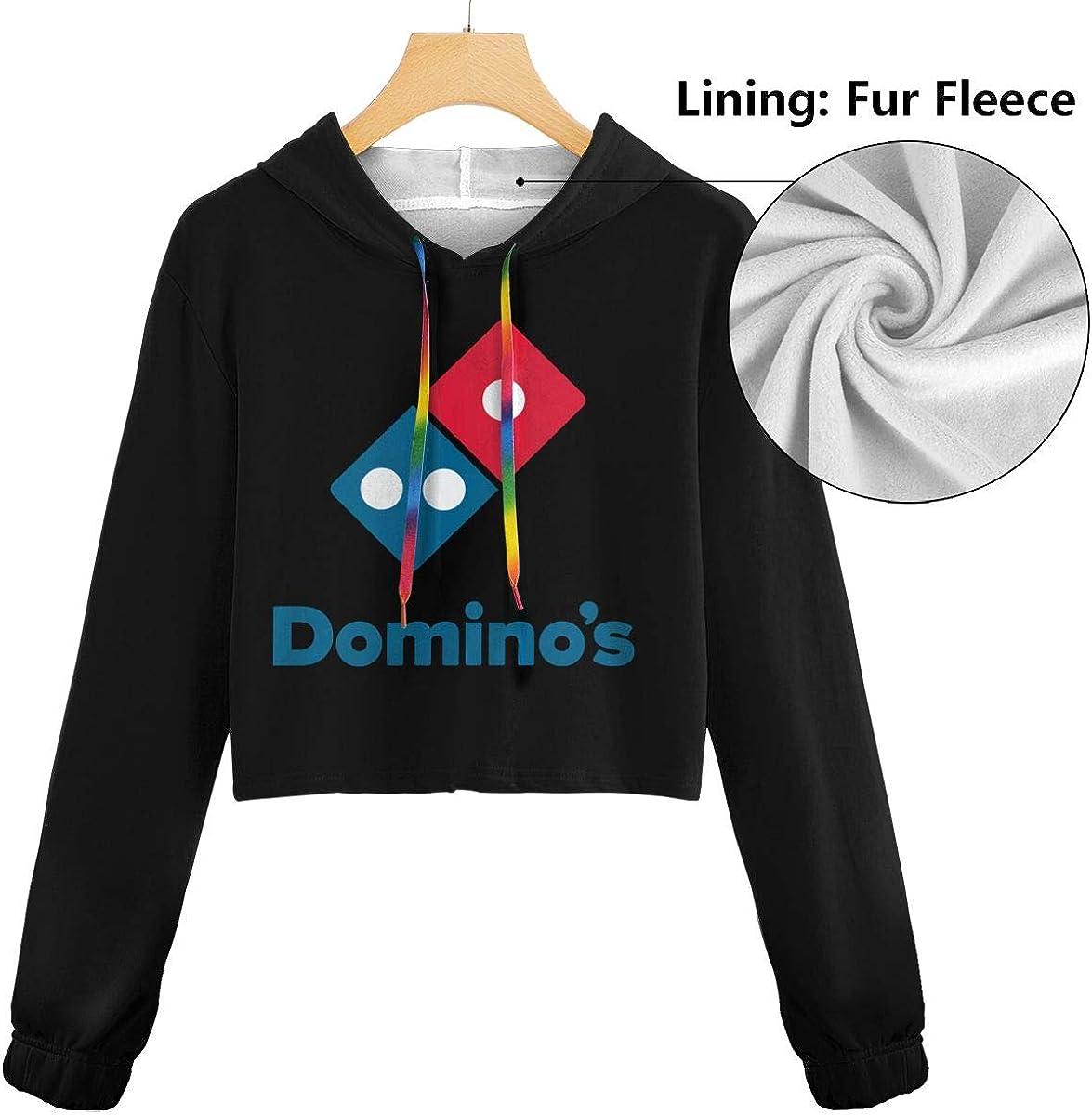 Womens Dominos Pizza Logo Long Sleeve Sweatshirt Hooded Girls Crop Top Hoodies