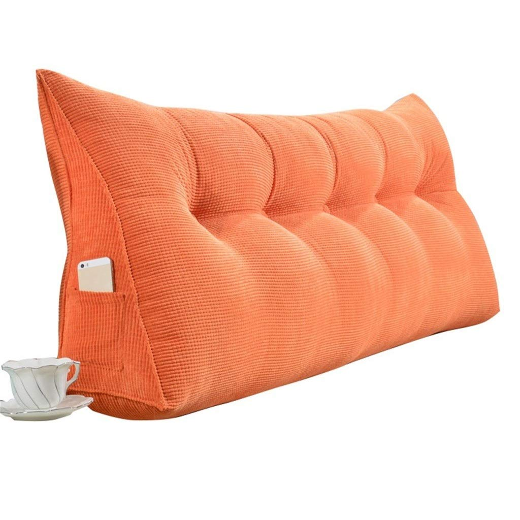 K&F-Cushion Triangle Pillow Back Support Pad As Reading Pillow Waist Pad Neck Pillow Headboard Thick Double Bed Back Washable Removable Cover (Color : Orange, Size : 135×50×20cm) by K&F-Cushion