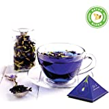 Blue Tea Indian Chai Masala, Butterfly Pea Flower and Traditional Spices, 12 Pyramid Teabags 24 Cups