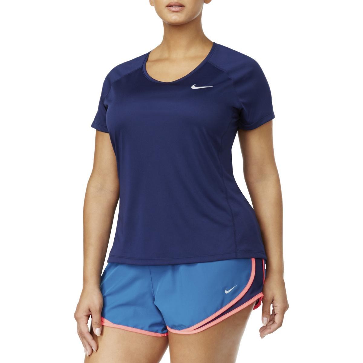 NIKE Womens Plus Miler Colorblock Short Sleeves Pullover Top Navy 2X