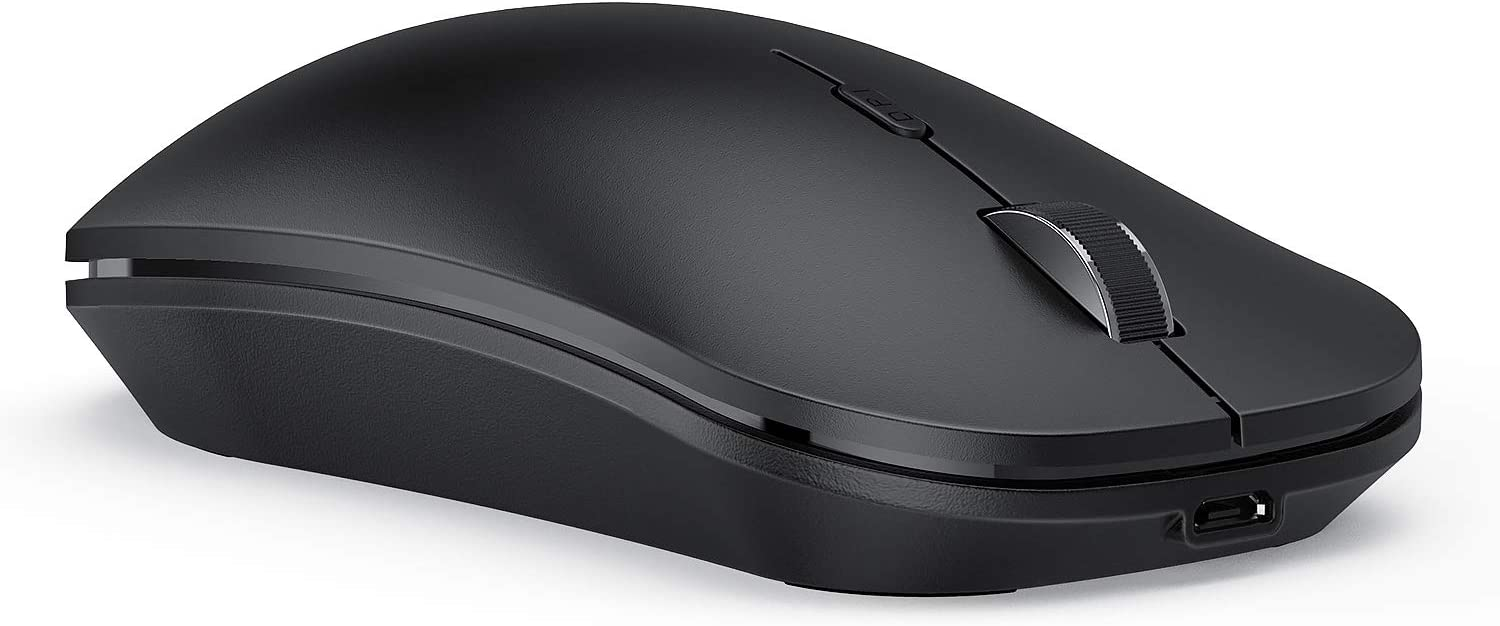 seenda Wireless Mouse - Rechargeable Wireless Mouse Multi-Purpose (BT 4.0+USB+Type C 3-Way Connection) PC Mice Compatible with iPad iPhone Mac OS Android Windows - Black