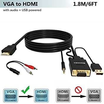 FOINNEX Cable VGA a HDMI Adaptador con Audio (Convertidor de PC ...